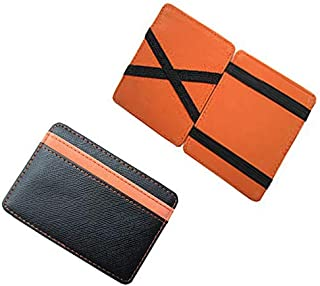 PU Leather Magic Wallets Fashion Designer Men Money Clip Black and Orange