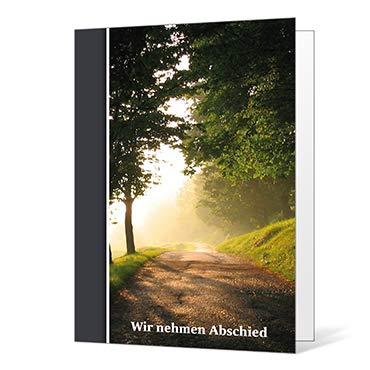 10 x Trauerkarten Waldweg - Klappkarten im Set mit passenden Umschlägen - Karte zur Kundgebung des Trauerfalls - Trauer, Beerdigung, Sterbefall, Friedhof, Begräbnis