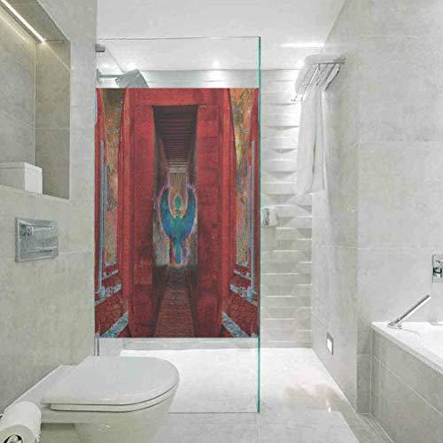 Fensterfolie, blickdicht, selbstklebend, ägyptische Legende, Ikone Vogel alte Figur mit traditionellem Displ, Tönungsfolie für Zuhause, 89,9 x 199,9 cm