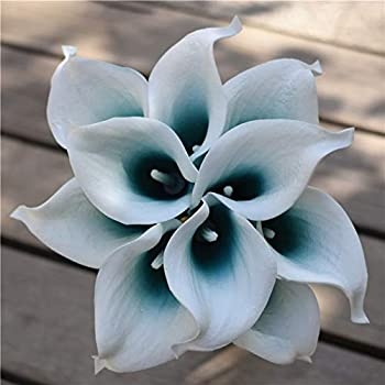 ShineBear Oasis Teal Wedding Flowers Teal Blue Calla Lilies 10 stem Real Touch Calla Lily Bouquet Wedding Centerpieces Arrangement Decorat -  Color  White and Oasis Teal