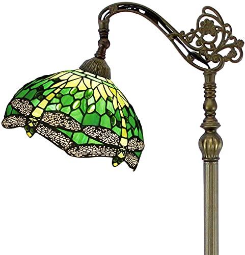 KFJZGZZ Lámpara de pie de lectura estilo Tiffany verde vidriera libélula pantalla antiguo ajustable arqueado base