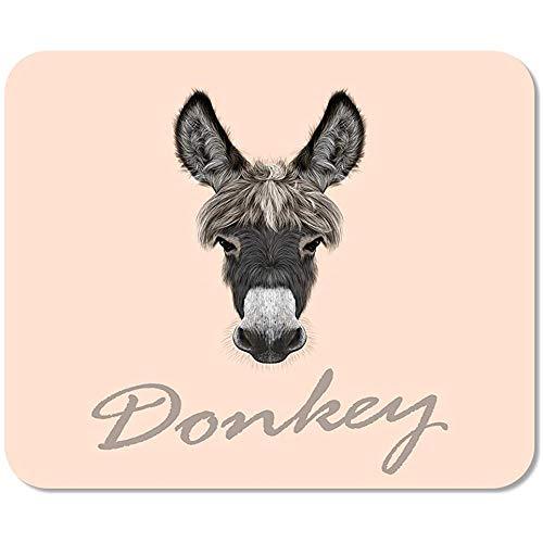 Mousepad bruin dier boerderij ezel portret van grijs op roze grijs gezicht hoofd tekenen paard kont 25 X 30 cm muismat school kleurrijk spel muismat werk afgedrukt muis mat kantoor speciale