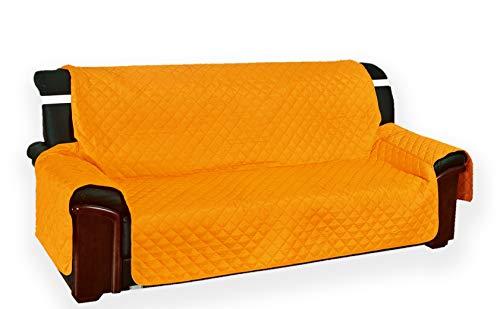 Funda acolchada «Vivy» para sofás de 3 plazas, color naranja liso, dimensiones del asiento:170cm