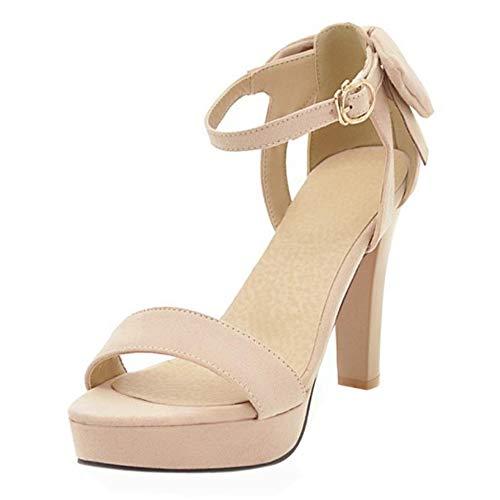COOLCEPT Damen Buro High Heel Riemchen Sandalen Sommer Schuhe Beige Gr 34 Asian