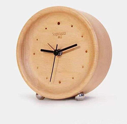 Reloj Despertador Pulido a Mano Clásico Mini Ronda Analógica de Alarma Reloj de Madera,Reloj de Recorrido Mejor Regalo para el Dormitorio de Los Niños