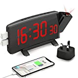 PEMOTech Projection Alarm Clock, 7'' LED Digital Alarm Clock with Dual USB Charging