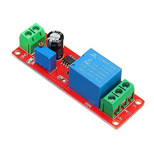 YEZIB Accesorios electrónicos de Bricolaje, NE555 viruta Tiempo del relé de retardo del módulo de conmutador único Interruptor de Tiempo Estable 12V 20pcs