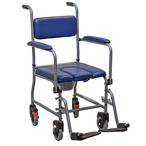 Sedia Comoda WC Imbottita con Rotelle Vaso rimovibile per Disabili e Anziani -Termigea - SE3