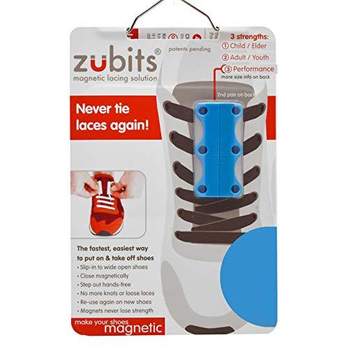 zubits® - Magnetische Schuhbinder/Magnetverschlüsse für Schuhe - Größe #1 Kinder und Senioren in hellblau