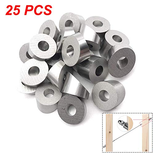 """CKE 25 Pack Stainless Steel 1/4"""" 30 Degree Angle Beveled Washer for 1/8"""" to 3/16"""" Deck Cable Railing T316 Marine Grade, Wood/Metal/Aluminum Posts, DIY Balustrade"""