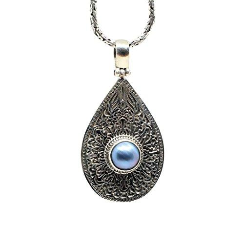 Shadi - Colgante de plata de ley oxidada con perla azul - joyería de plata artesanal
