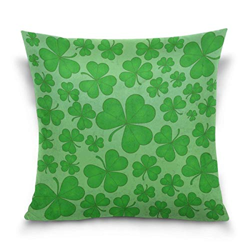 But why miss Throw Pillow Case Decorative Cushion Cover Square Pillowcase, St. Patrick's Day Clover Leaves Sofa Bed Pillow Case Cover(18x18inch) Twin Sides