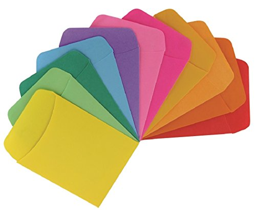 """Hygloss Products Library Card Pockets - Perfect for Classroom, Arts & Crafts & Much More - Non-Adhesive - 3.5"""" x 5"""" - 3 Each of 10 Bright Colors - Pack of 30 Pockets"""