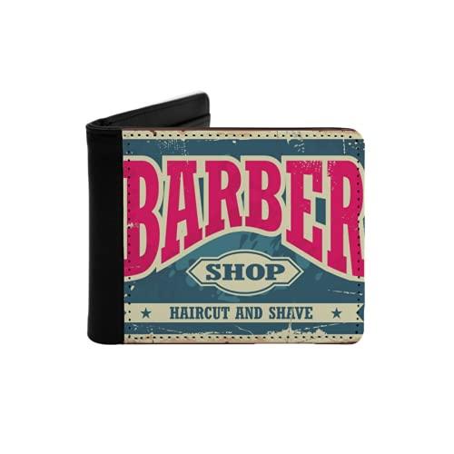 Cartera Delgada de Cuero para Hombre,Barber Shop Hipster Corte de Pelo y Afeitado Vintage Sign,Cartera Minimalista con Bolsillo Frontal Plegable