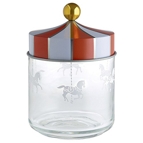Alessi Mw30/75circo Jar en cristal con tapa hermética la serigrafía en Hojalata. 75cl