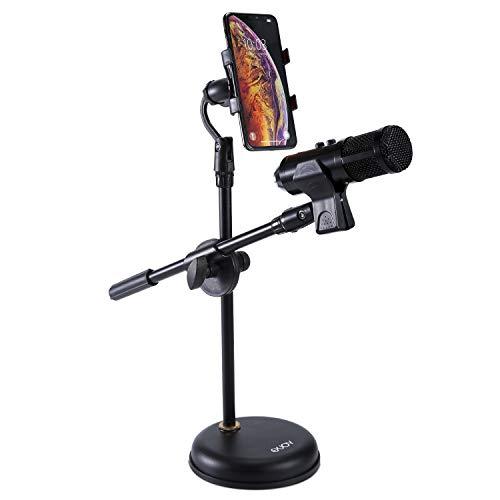 Mikrofonständer Tisch mit Handyhalter, EXJOY verstellbarer Mikrofonständer mit rutschfestem Klemmhalter Clip starke runde Basis (1,27 kg)