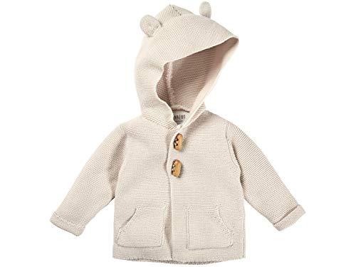 Bio Baby Strickjacke mit Kapuze 100% Bio-Baumwolle (kbA) GOTS zertifiziert, Ecru, 50/56