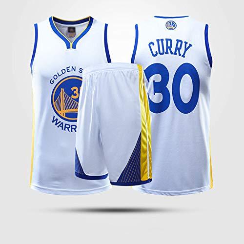 YZQ Trajes De Baloncesto para Niños, Golden State Warriors # 30 Stephen Curry Camisetas Transpirables De La NBA Chalecos Trajes De Entrenamiento Deportivo Camisetas Y Pantalones Cortos,Blanco