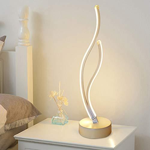 Lámpara de mesa LED para mesita de noche, lámpara de escritorio, regulable, con mando a distancia, eficiencia energética, protección para los ojos, lámpara de lectura para 3 niveles de brillo (dorado)