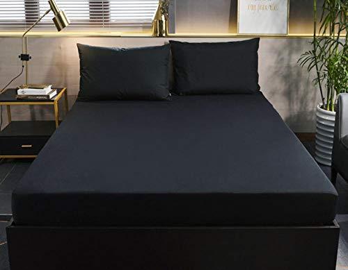 XLMHZP Topper viscoelastico,Protector de colchón de Color sólido con Funda de colchón Impermeable elástica Blanca/Negra Funda de colchón para bebé Protección de sábana Ajustable-K_180x200cm+30cm