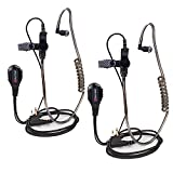 Covert Acoustic Tube Earpiece with Mic for Baofeng UV-5R Walkie Talkies, Surveillance Headset and PTT Compatible with 2 Way Radios Brands Baofeng and Kenwood, Puxing, Wouxun (2 Pcs-Black)