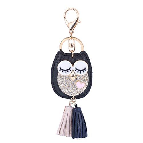 WINOMO Eule Schlüsselanhänger mit Leder Quaste für Handy Damenrucksack Tasche Dekor (schwarz)