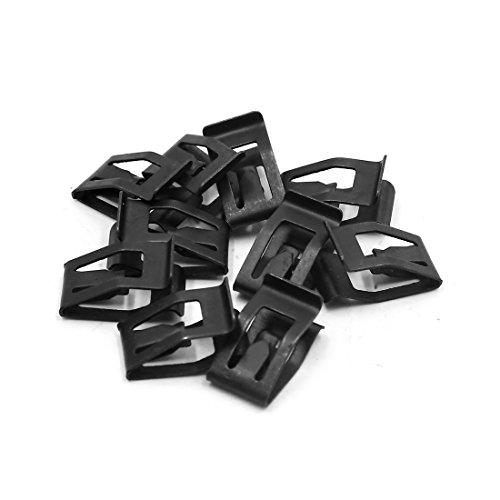 sourcing map 10pzas 7mm Orificio Grapas Tipo U Clip de Metal Negro para Panel Tablero del Coche Vehículo
