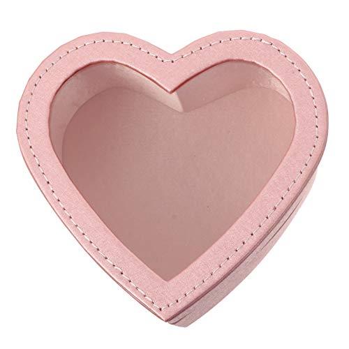 PRETYZOOM Caja de regalo con forma de corazón rosa con ventana de cuero y flores, caja de regalo para boda o cumpleaños (13 cm de ancho)