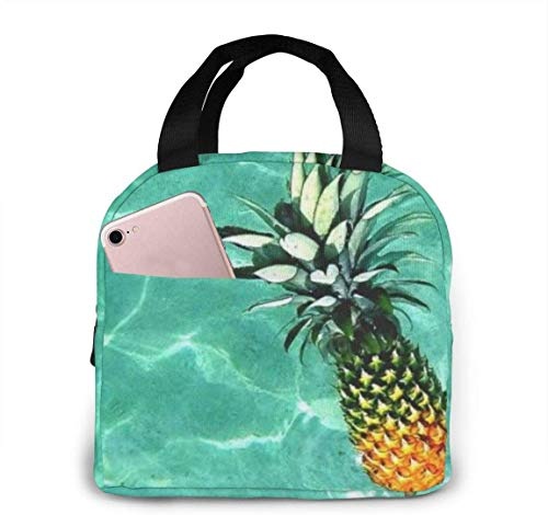 Best Pineapple Portable Thermal Insulated Lunch Bag with Zip Closure, Reusable Adult Tote Cooler Box