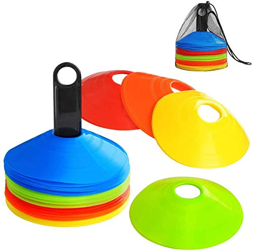 Sports Disc Cones for Soccer Football Basketball Hocky Running and Agility Training Set of 30 or 60 Pcs, Football Training Sign Dish Plate Cone Marker Multicolor Flexible With Carry Bag Holder(60 Pcs)