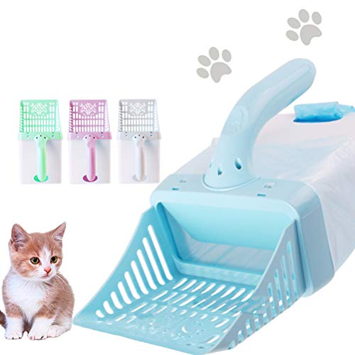 Calayu Katzenstreuschaufel, Katzentoilette mit Müllkasten Katzenstreu-Reinigungswerkzeugset
