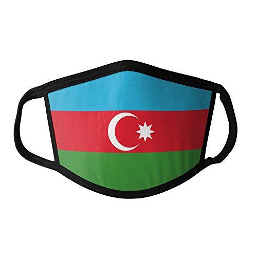 M&schutz Maske Stoffmaske Klein Asien Flagge Aserbaidschan Wiederverwendbar Waschbar Weiches Baumwollgefühl Polyester Fabrik Schwarze Naht Trimmen