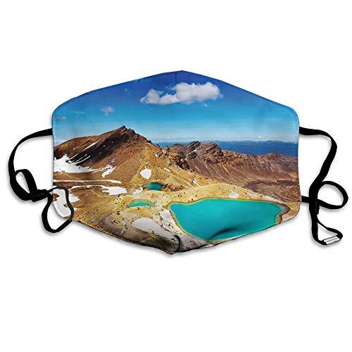 Cómoda cubierta facial resistente al viento, Parque Nacional Tongariro Esmeralda Lakes and Mountains atracciones turísticas naturales, decoraciones faciales impresas para todo el mundo