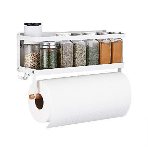 KES Gewürzregal Küchenregal Magnete Küche Magnetregal Kühlschrank Regal Gewürz Ablage Wand Hängeregal Ohne Bohren mit Küchenrollenhalter Organizer Weiß, KRR501A-WH