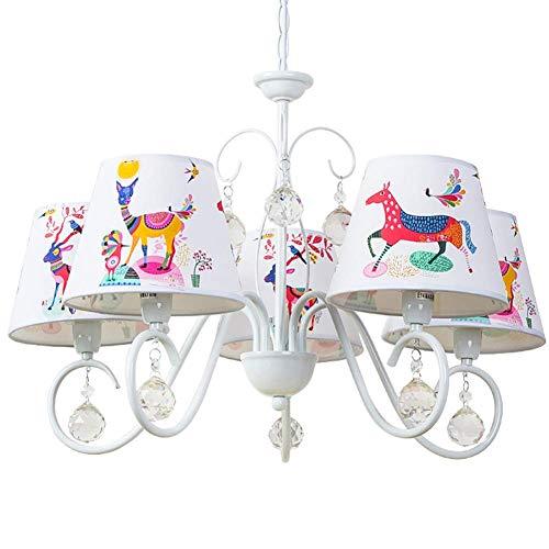 Plafondlamp voor kinderen met 5 kroonluchters en stoffen kap versierd met levende dieren voor kinderkamer baby jongen E14 x 5 diameter 65 cm x 45 cm (A++)