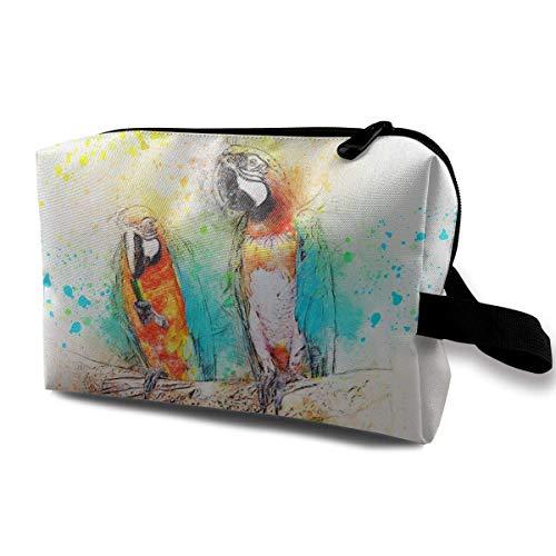 Papageienzweig thront auf gemalter Kunstreisekosmetiktasche, leichte und Bequeme personalisierte kosmetische Tasche