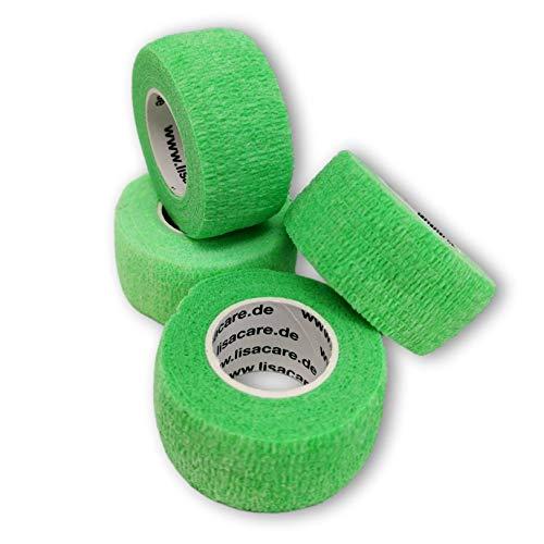 LisaCare Fingerpflaster selbsthaftend - elastisches, wasserfestes, staub- fett- und schmutzabweisendes Pflaster - NEONGRÜN - 4 Rollen á 2,5cm x 4,5m