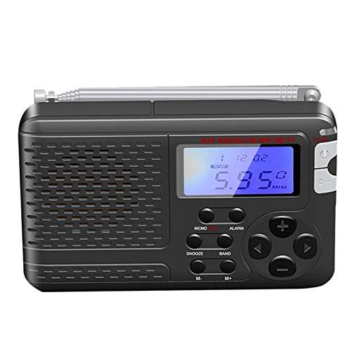 momok Radio Multifuncional con Antena Pantalla LCD PortáTil Am/FM/SW/TV Radio de Banda Completa 50/60 HZ Almacenamiento de Radio de BateríA 3XAAA