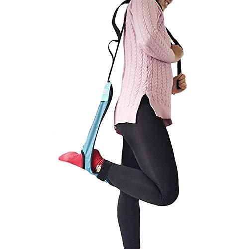 JMung Beinheber Beinstrecker Gerät Oberschenkelheber Beinband zum Anheben von Fußbeinen Verstellbare Füße Riemen mit Handgriff, ältere Menschen Behinderung Rollstuhlbett,Blau