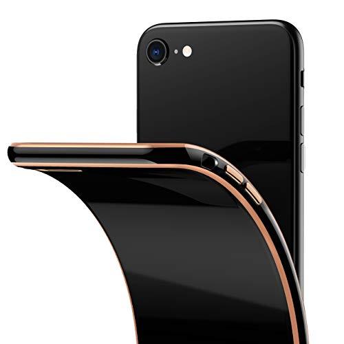 RANVOO Hülle Kompatibel mit iPhone SE 2020/8/7, Silikon Slim Schwarz Rücken und verzierte Gold Ränder Hülle Schutzhülle Cover Handyhülle, Schwarz und Golden
