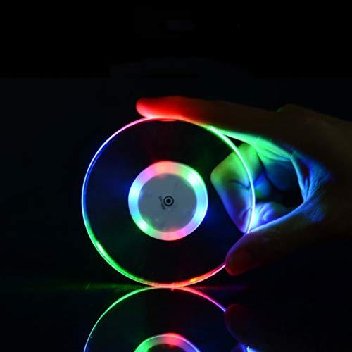 Mobestech - Set di 4 sottobicchieri rotondi a LED trasparenti ultra sottili in acrilico con base illuminante per biberon, bicchieri regalo per bar, ristoranti e feste (bianco e colorato)