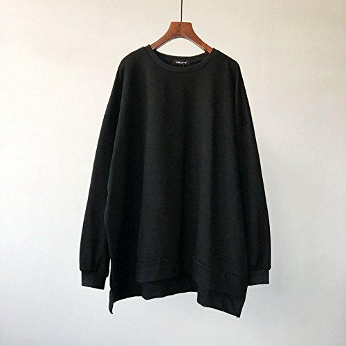 Malilove Sudaderas Puro Tamaño Suelto Suéter Largo Apartado Código F Hembra Negro