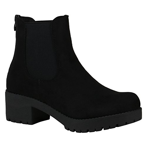 Damen Schuhe Chelsea Boots Blockabsatz Plateau Stiefeletten Leder-Optik 150483 Schwarz Velours 40...