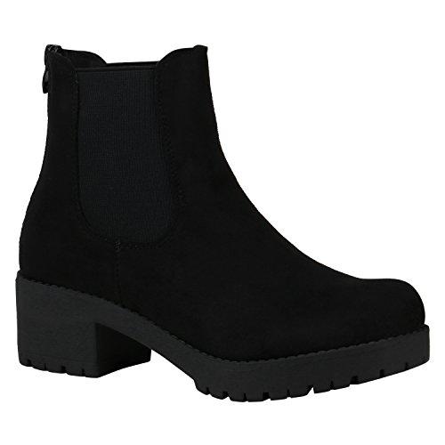 Damen Schuhe Chelsea Boots Blockabsatz Plateau Stiefeletten Leder-Optik 150483 Schwarz Velours 40 Flandell