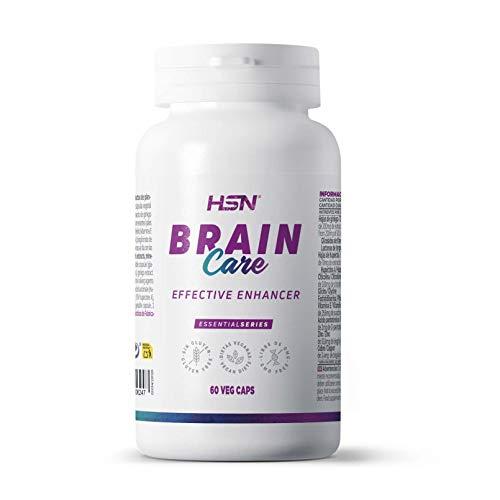 Brain Care de HSN | Nootrópico Natural con Gingko Biloba + Huperzina + Citicolina + Fosfatidilserina + Vitaminas + Minerales | Apoyo Cognitivo + Memoria + Atención | Vegano | 60 Veg Caps