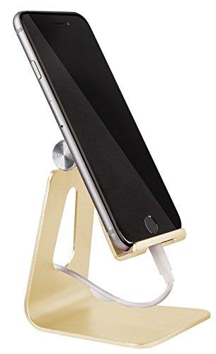 MyGadget Smartphone Ständer - Aluminium Schreibtisch Halterung - Handy & Tablet Multi Winkel Stand für u.a. iPhone/iPad, Samsung Galaxy - Gold