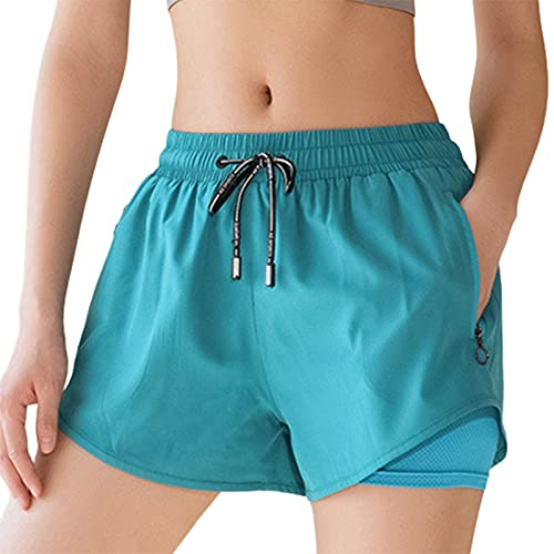 BEAUTYOO Pantalones cortos transpirables de doble capa para mujer, pantalones cortos de pijama, pantalones cortos deportivos para yoga, deportes, gimnasio, Azul Verde, XL