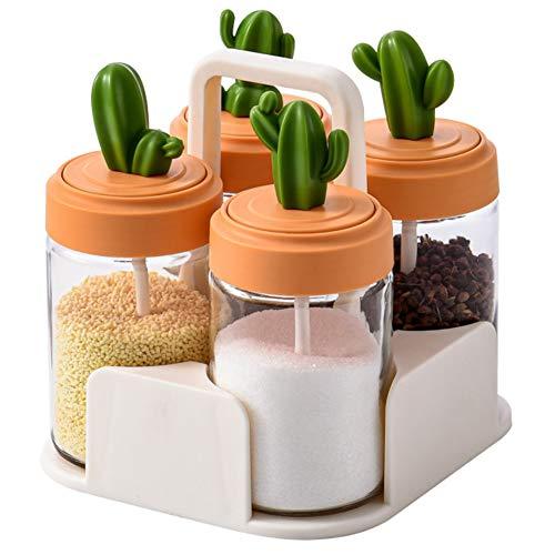 Caja de condimentos, forma de cactus, frasco de especias portátil, sellado y a prueba de humedad, puede almacenar esencia de pollo, azúcar, sal, pimienta, azúcar moreno, polvo de especias, etc.