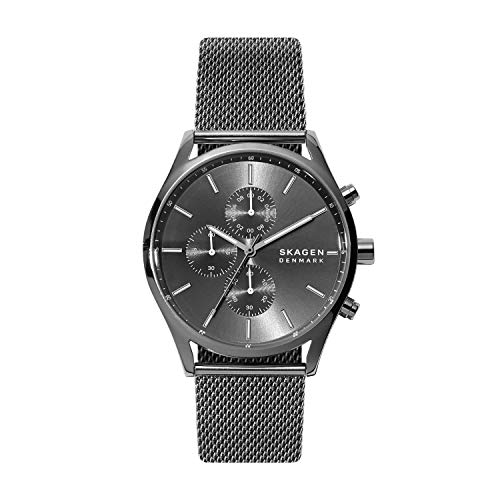 Skagen Men's Holst Quartz Analog Stainless Steel and Stainless Steel Mesh Watch, Color: Gunmetal Steel Mesh (Model: SKW6608)