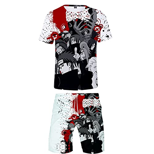 ZOSUO T-Shirt NARUTO Summer Shorts Suits 3D Sweatshirt Cosplay Uchiha Itachi Costume Mens Breathable Teens Boys 2 Piece Fashion Suit,Multi colored,XL